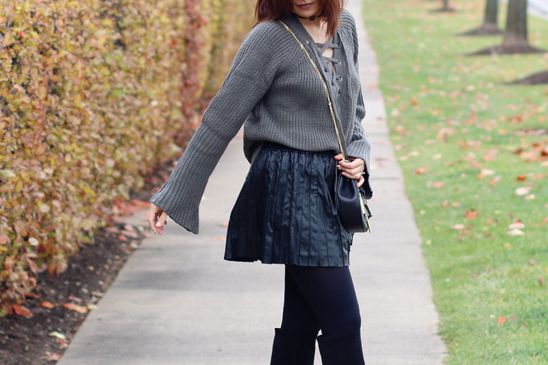Sammy-Dress-lace-up-sweater-pleated-faux-leather-skirt-1