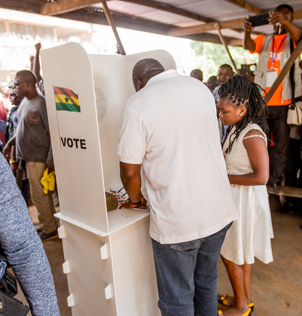 President Mahama Votes in Bole in the Northern Region