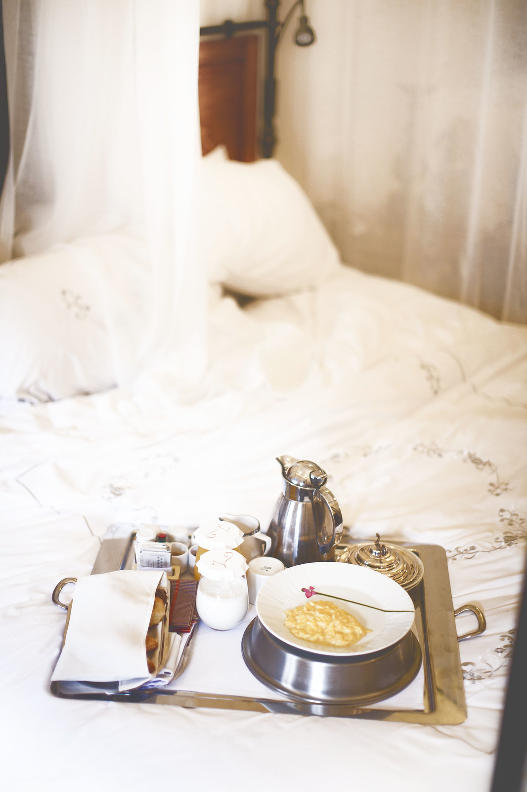 breakfast in bed at Palacio Nazarenas in Cusco, Peru