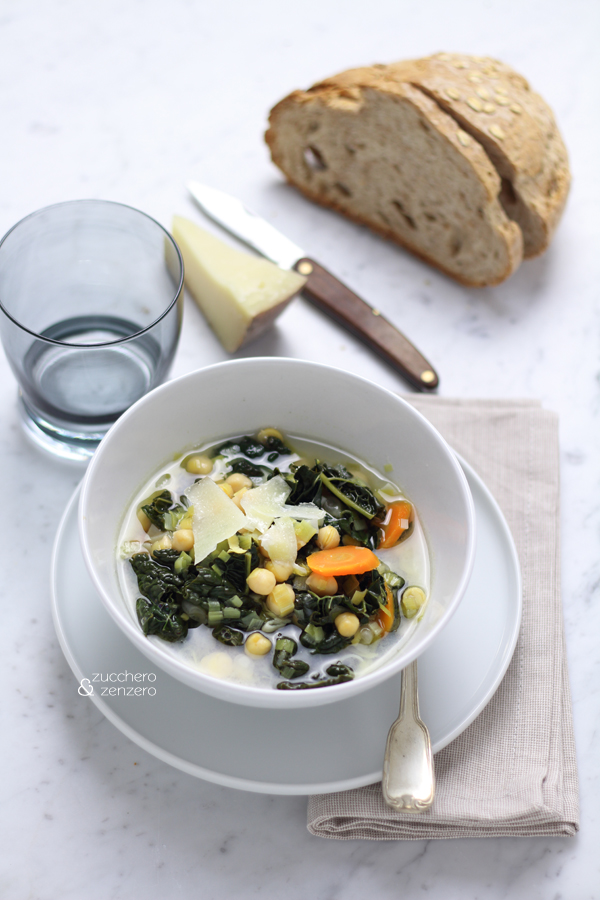 Chickpea, kale and leek soup