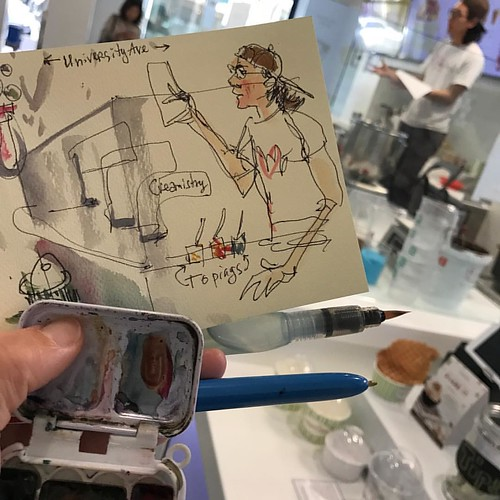 Drawing on a school field trip at the liquid nitrogen creamery! #sketchbook #drawingeverywhere #liquidnitrogen #creamery #creamistry #paloalto #downtown #universityave #icecream