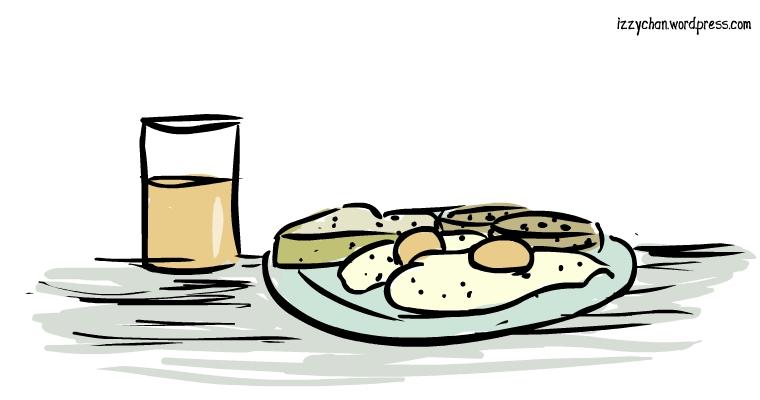 eggs, toast, sausage, orange juice