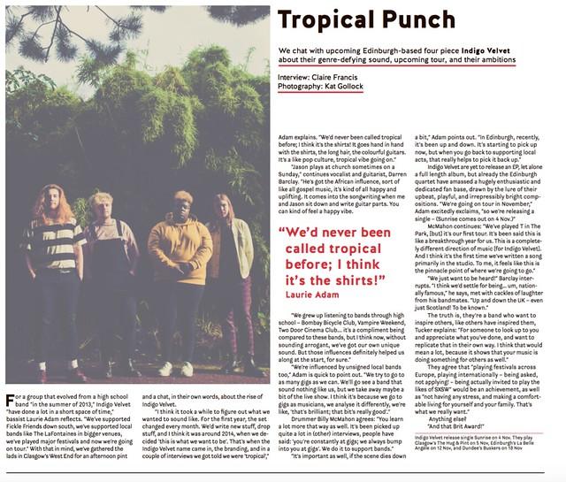 Indigo Velvet interview in The Skinny Magazine