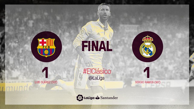 La Liga (Jornada 14): FC Barcelona 1 - Real Madrid 1
