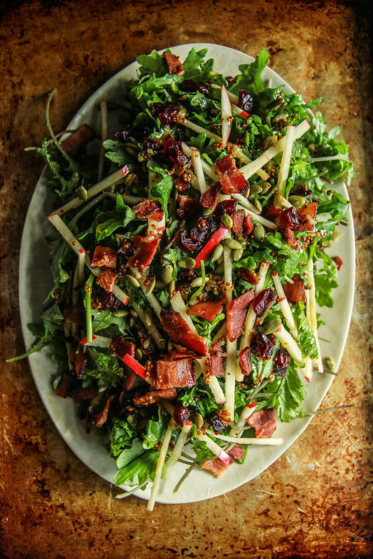 Baby Kale Autumn Salad with Honeycrisp Apples, Bacon, Cranberries and Pepitas from HeatherChristo.com