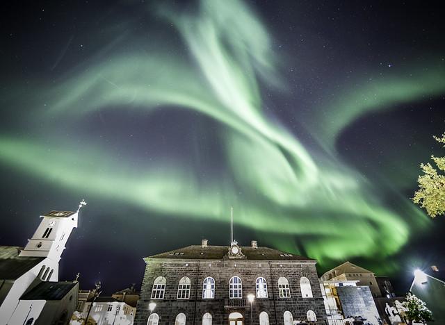 Aurora Borealis over Parliament in Reykjavik,Iceland