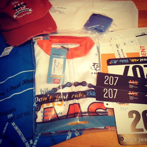 I picked up my MS150 rider packet and jersey today!