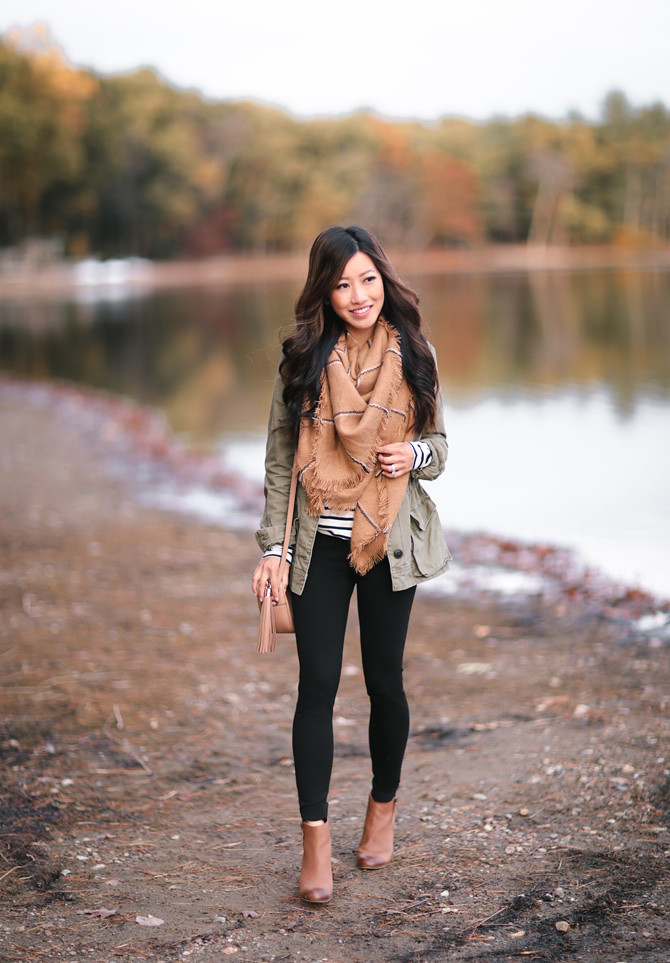 utility jacket tunic leggings outfit idea fall extra petite