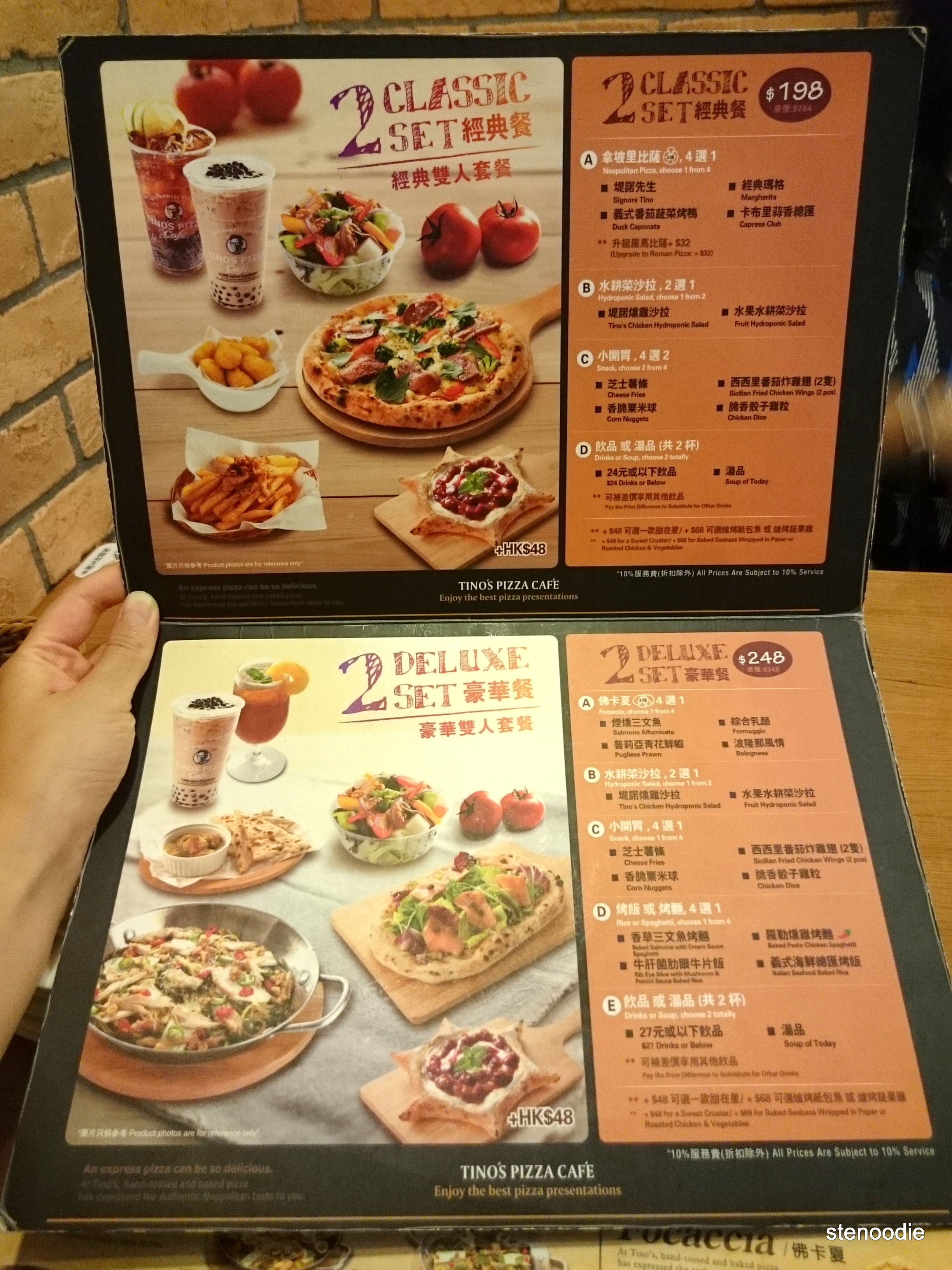 Tino's Pizza Café set menus