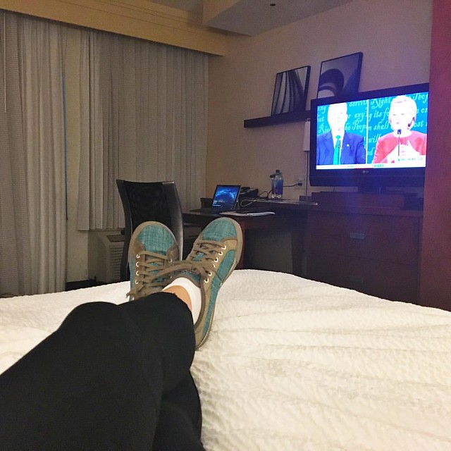 On the road for work watching the debate from my hotel room. What I learned from the debate is what I already knew, there is no way I could vote for Trump. #notgoingtohappen #debates2016