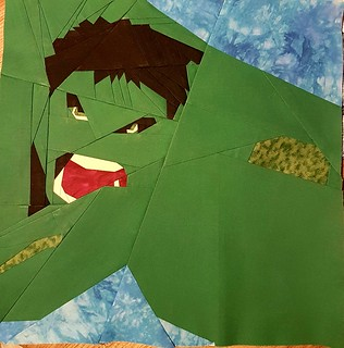 Paper pieced Superhero HULK. Patterns on Fandominstitches.com Pieced by Hannah Hughes