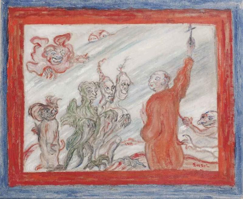 James Ensor - Diables turlupinant un religieux, 1940