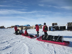 For our first week at South Pole Station, our mode of transportation out to the drill site was via a snowmobile and a Siglin sled