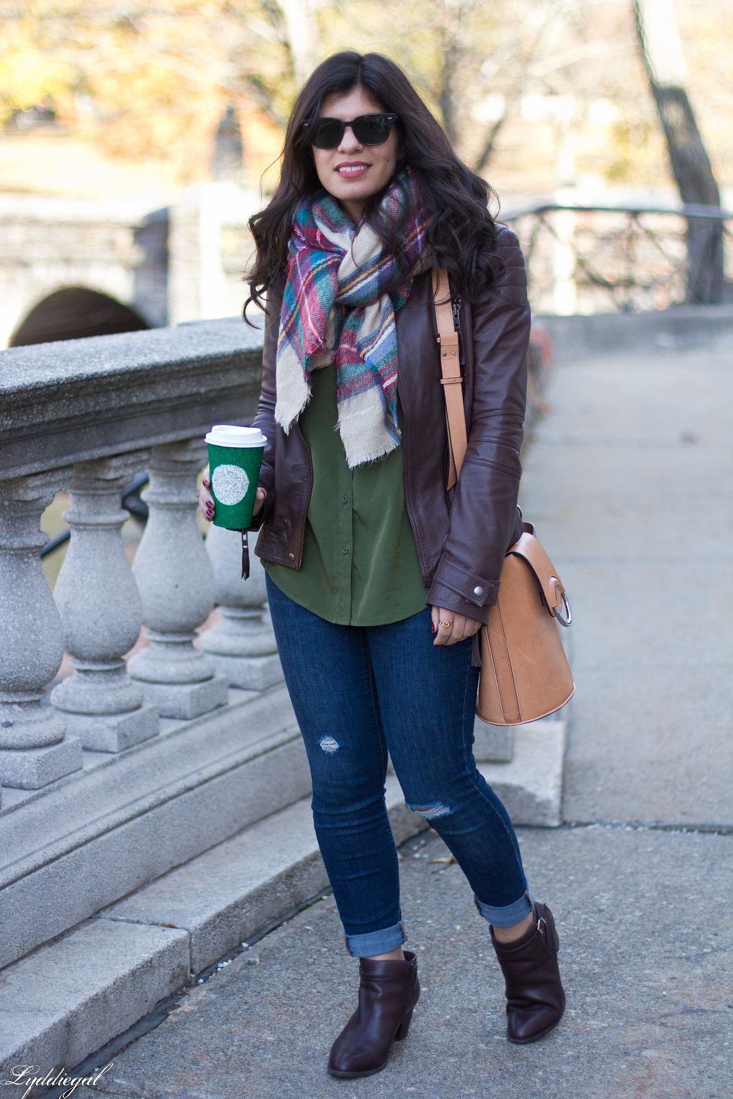 brown leather jacket, plaid blanket scarf, brown booties-7.jpg
