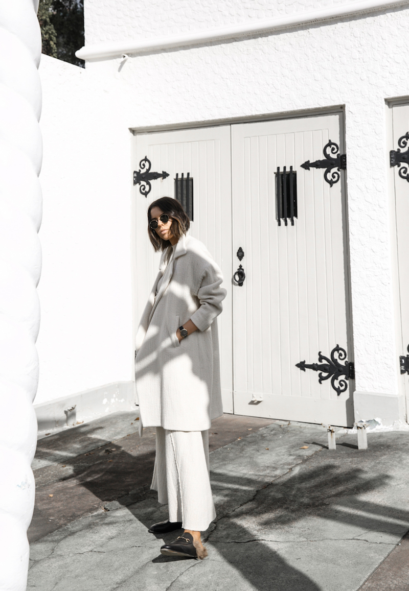 all white ivory minimal outfit street style inspo fashion blogger charlie may gucci princetown fur loafers winter coat modern legacy (2 of 16)