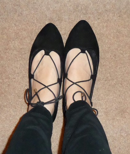 Primark black pointy lace up flats