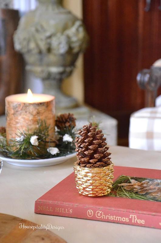 Avon Pinecone votive - Luminara Birch candle - Housepitality Designs