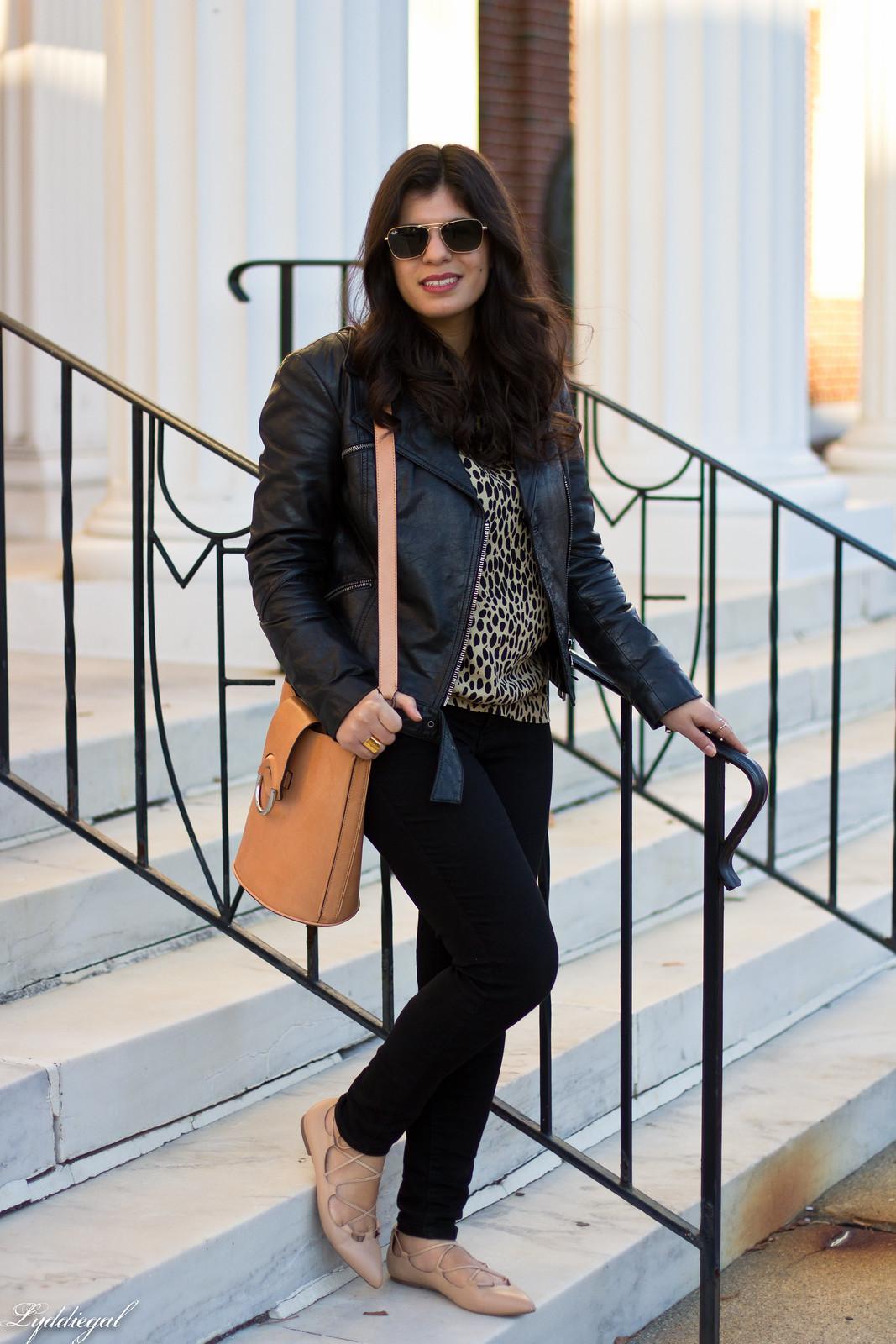 leopard print blouse, black leather jacket, black jeans-2.jpg