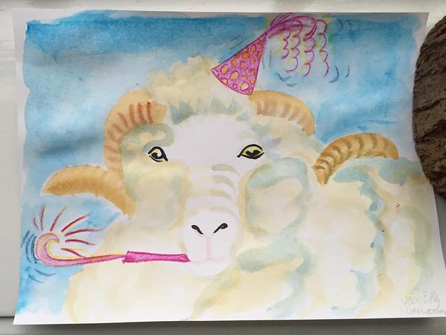 Saxon Merino birthday watercolour for Elly