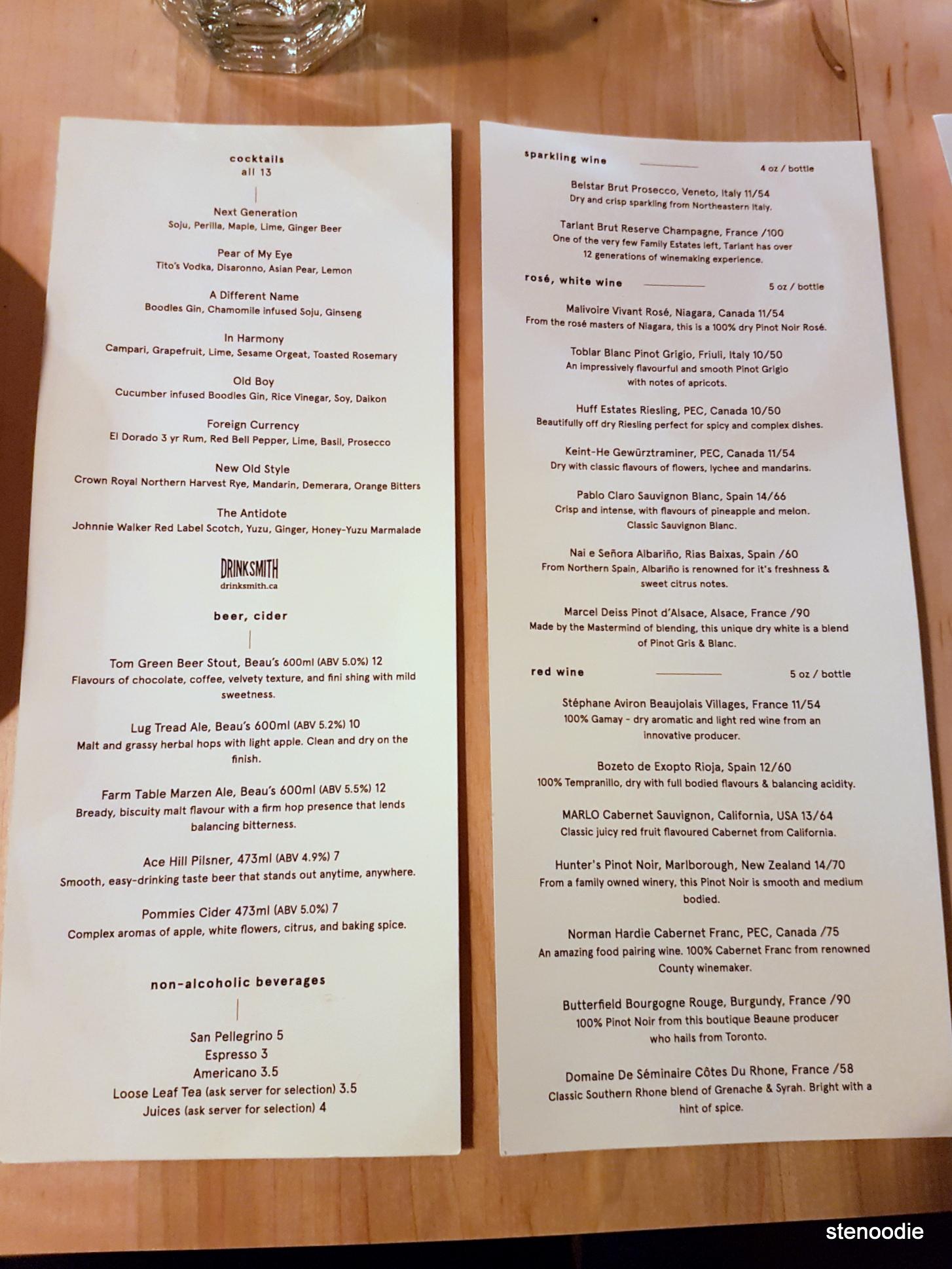 Doma Toronto drink menu