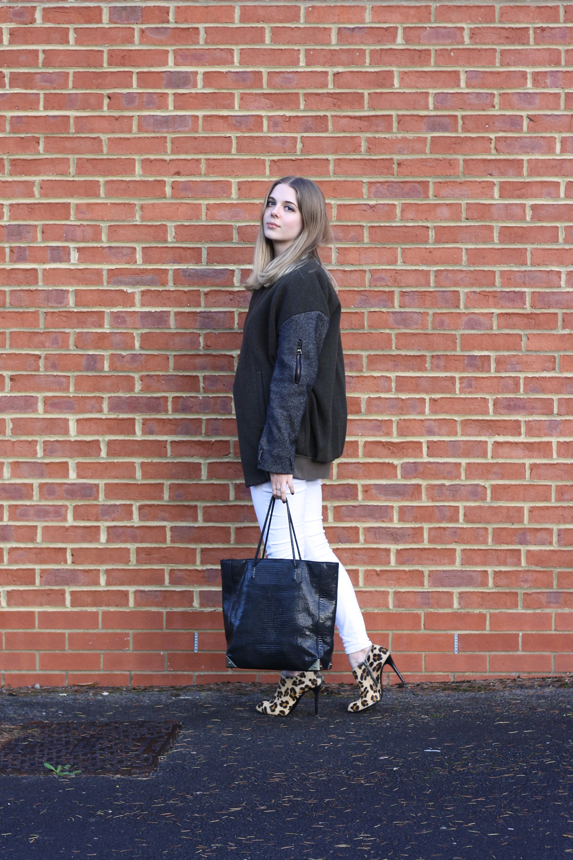 Topshop Unique khaki jacket, Zara leopard ankle boots and Alexander Wang black tote bag