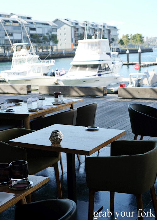 Dining room with open view of the wharf at LuMi Dining in Pyrmont Sydney