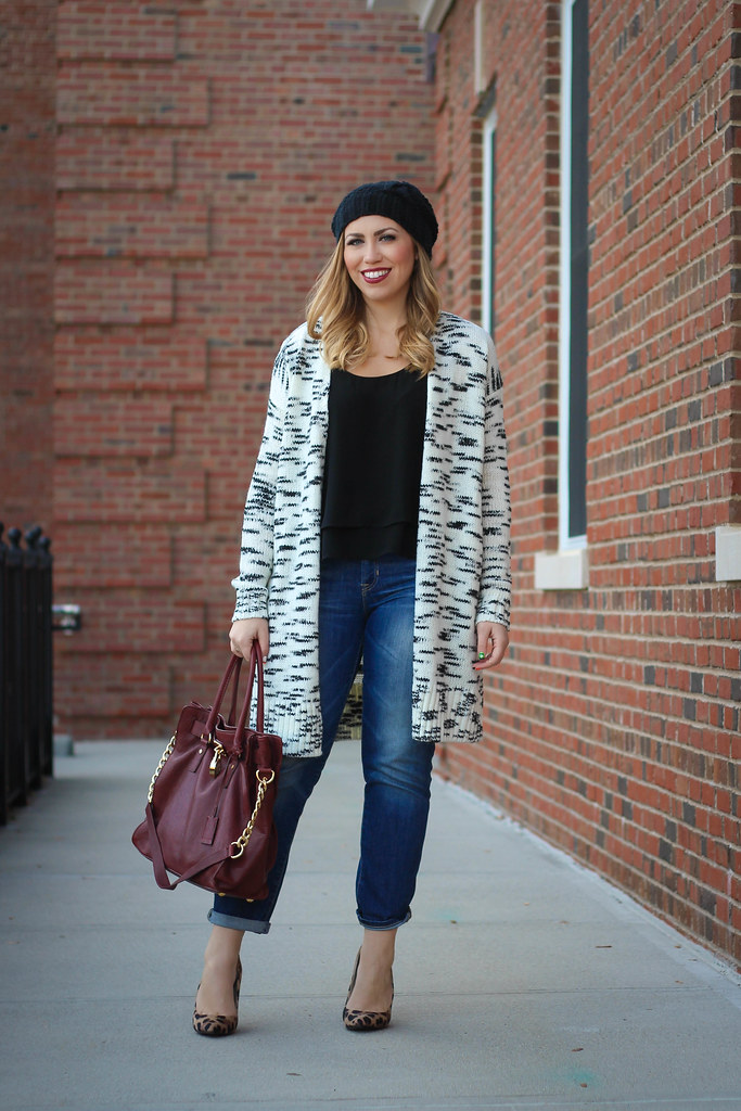Loft Coatigan Boyfriend Jeans Leopard Pumps Fall Outfit