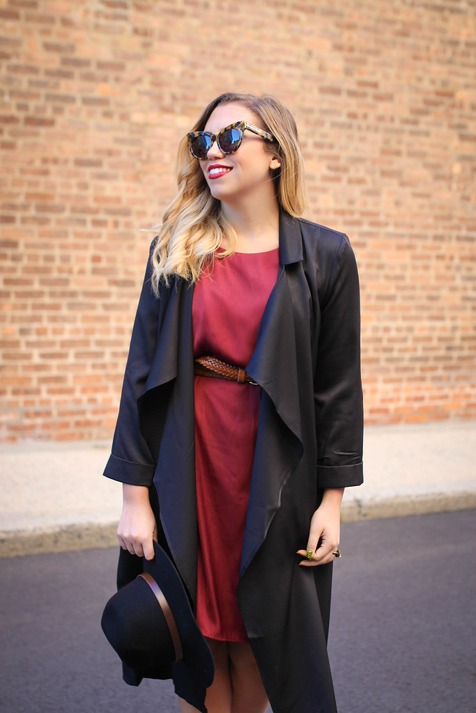 Fall Outfit Burgundy Dress Black Trench Coat Black Floppy Hat