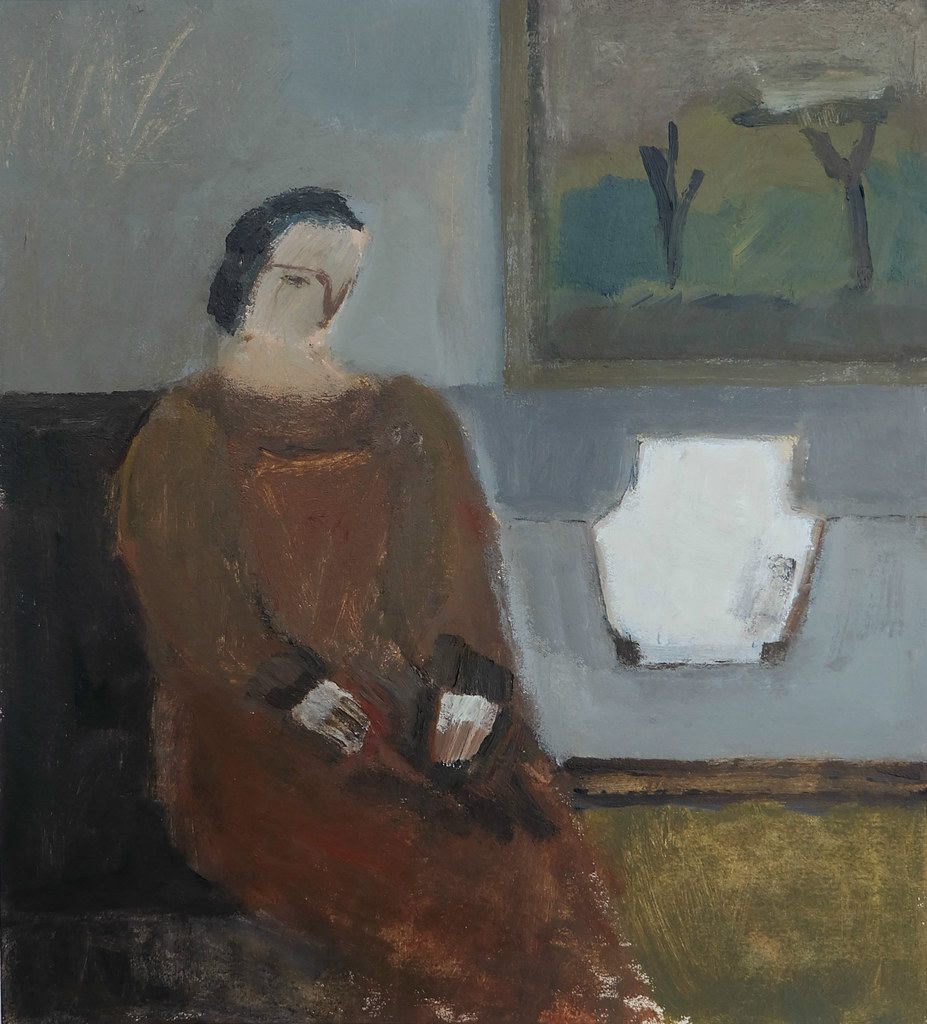 woman in interior (rusts and greys)