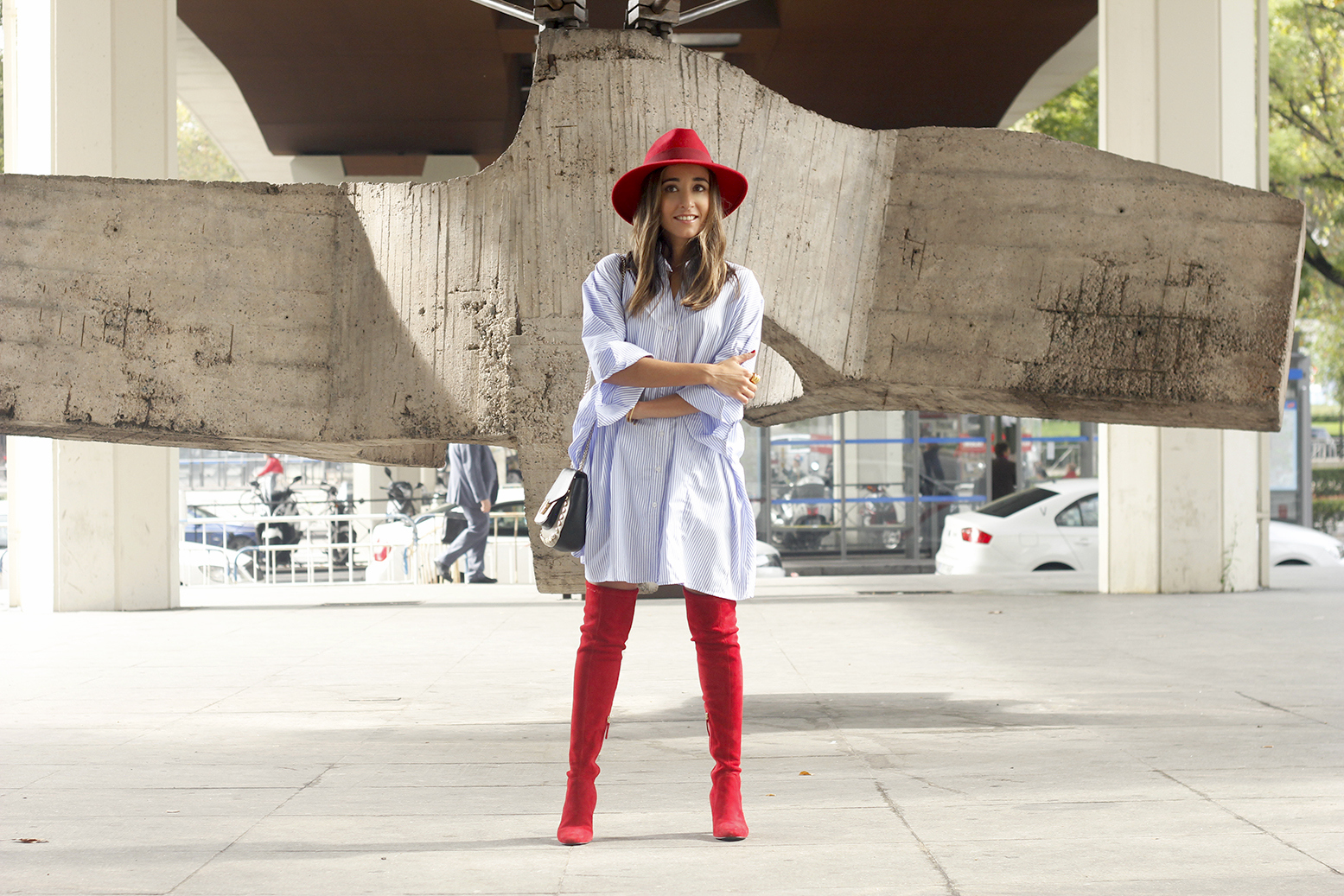 striped dress red over the knee boots red hat accessories fashion outfit style autumn14