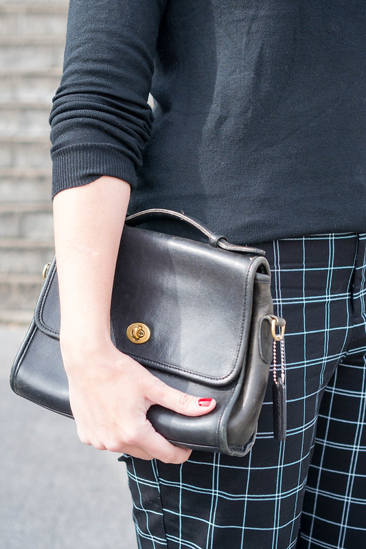 black sweater + old navy plaid grid pants + black Merona wedges; work outfit fall   Style On Target blog