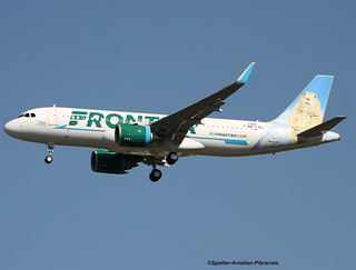 "Frontier Airlines. First flight of an Airbus A320 NEO with the new livery on the tail an animal ""La Marmotte""."
