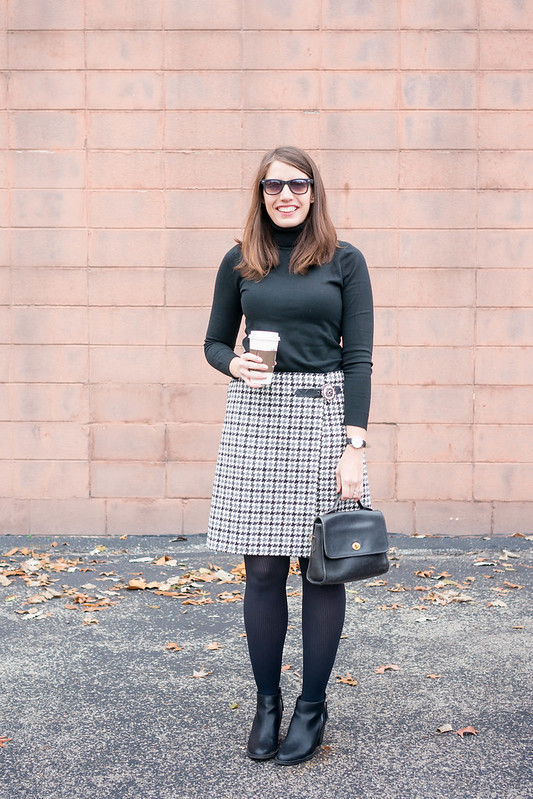 black turtleneck + houndstooth plaid Boden skirt + tights + black ankle boots + winter work outfit | Style On Target blog