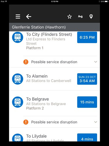 PTV app on iOS, showing real-time train info