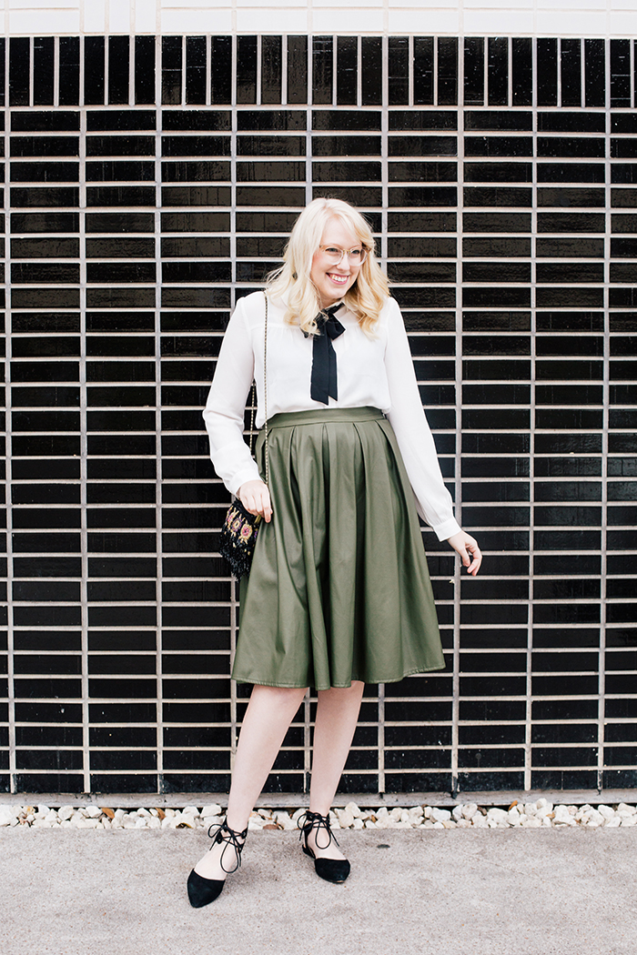 writes like a girl necktie blouse leather skirt holiday outfit7