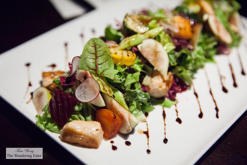 Honey fig salad, baked salmon, fig, asparagus, cherry tomato, zucchini, beetroot, cherry radish, seasonal greens and balsamic vinegar