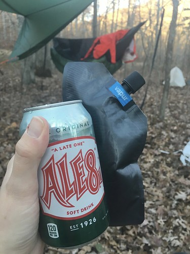 Post-hike cocktail of Ale8 and bourbon