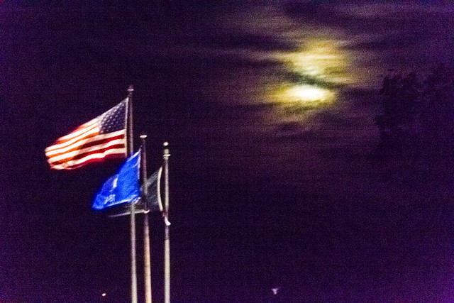 Low Moon Over Flags