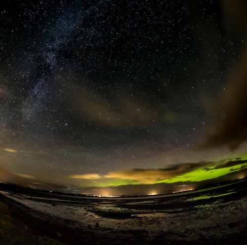 Aurora and milky way over Inver Beach, Scotland. #fujifilm #aurora #auroraborealis #northernlights #milkyway #nightsky #astrophotography #scotland