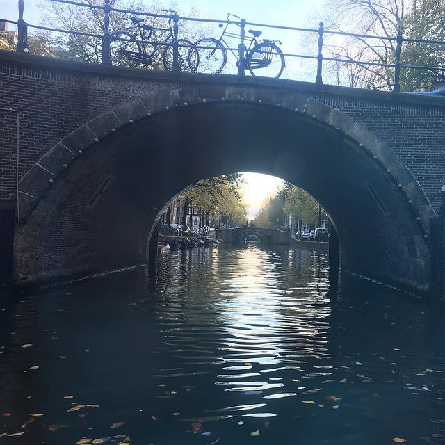 Seven canal bridges all lined up.