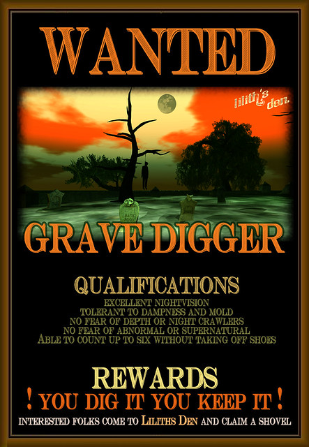 Wanted - Gravedigger - A Spooky Game  at Liliths Den