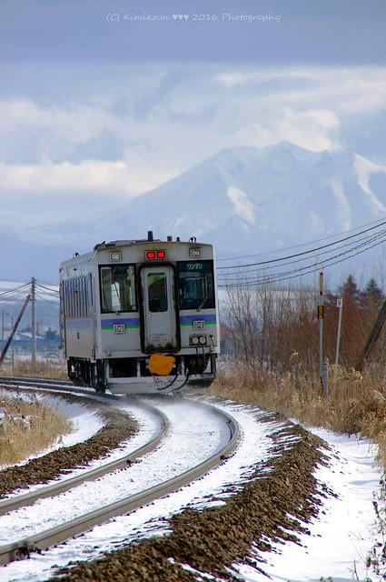 オプタテシケ山と気動車