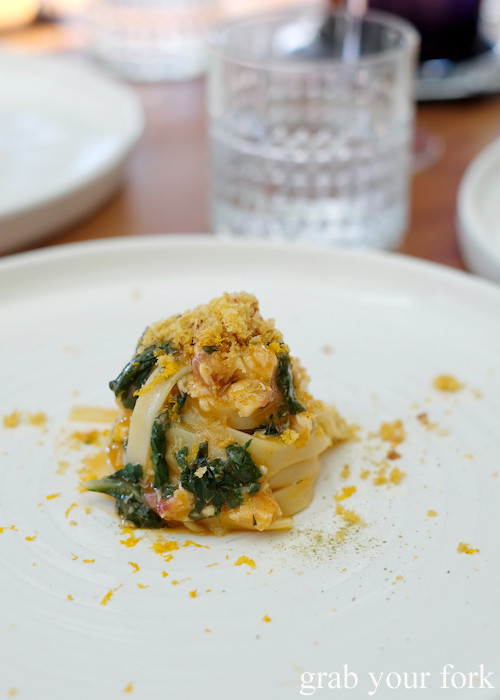 Scialatelli with eel, bottarge and orange at LuMi Dining in Pyrmont Sydney