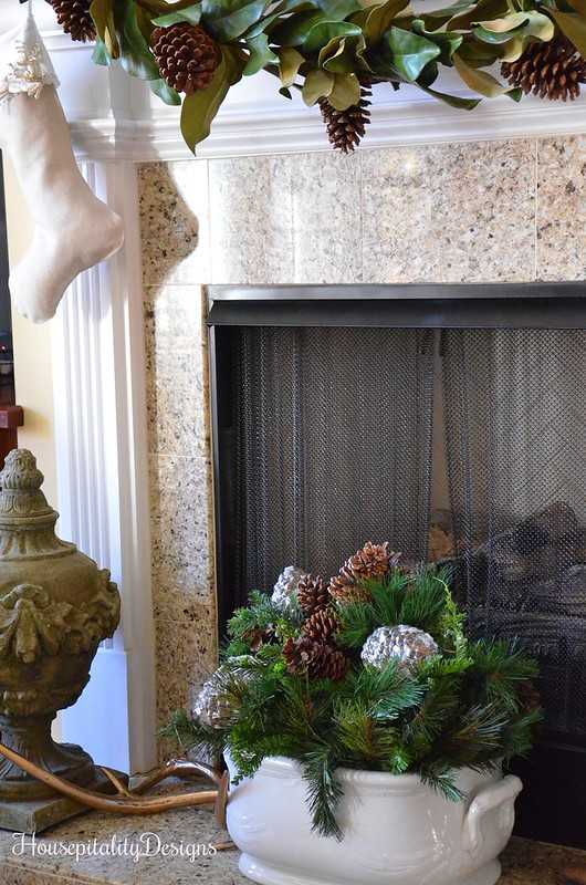 Christmas 2016 Mantel - Hearth - Ironstone Foot Bath - Housepitality Designs
