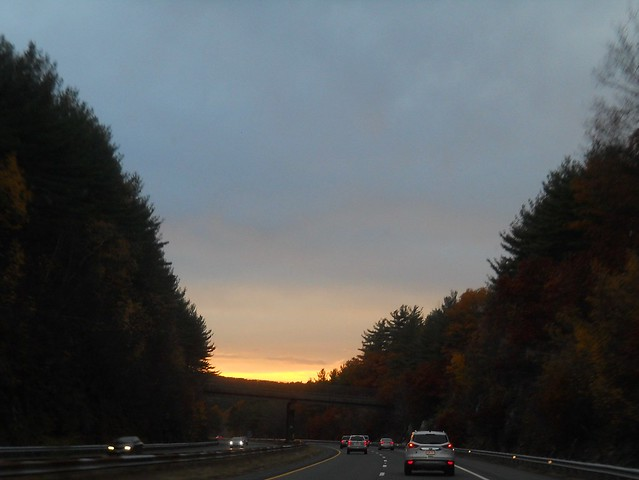 Sunset on I-90 W 5 Nov 2016