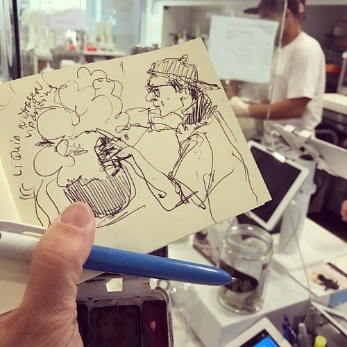 Drawing on a school field trip at the liquid nitrogen creamery! #sketchbook #drawingeverywhere #liquidnitrogen #creamery #creamistry #paloalto #downtown #icecream