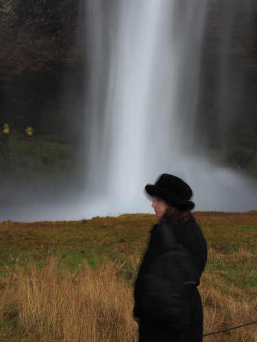 Woman and Waterfall, Iceland