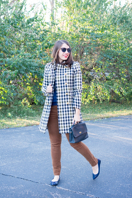 plaid J.Crew coat + navy sweater + tan cord pants + navy Target ballet flats | Style On Target blog