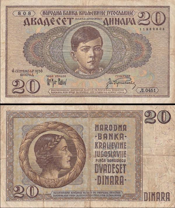 **20 Dinárov Juhoslávia 1936, P29 XF