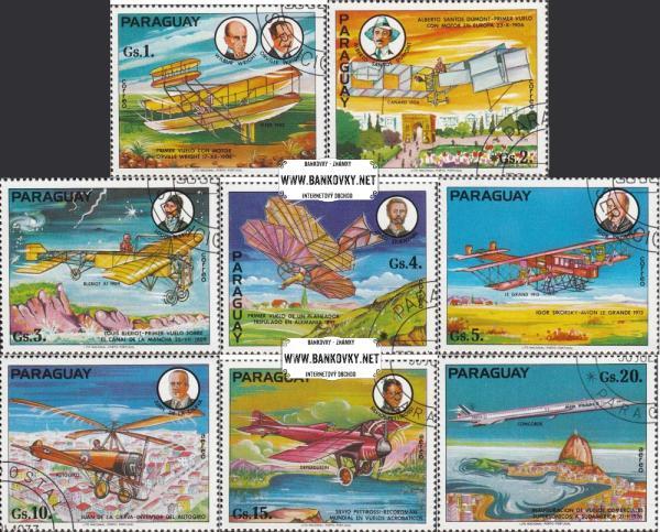 Známky Paraguaj 1977 História letectva, razítkovaná séria